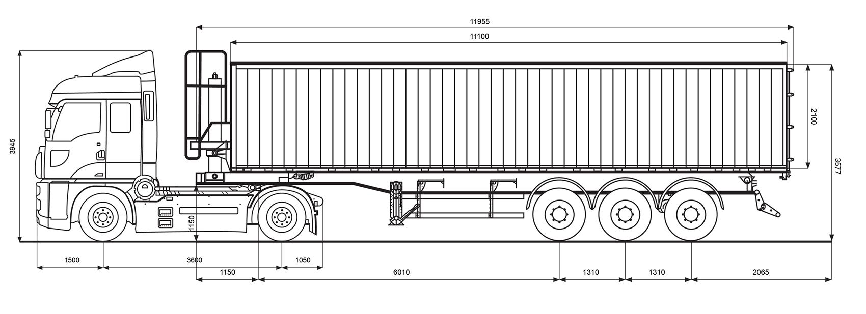 Параметри зерновозу Ford об'ємом 55 м.куб