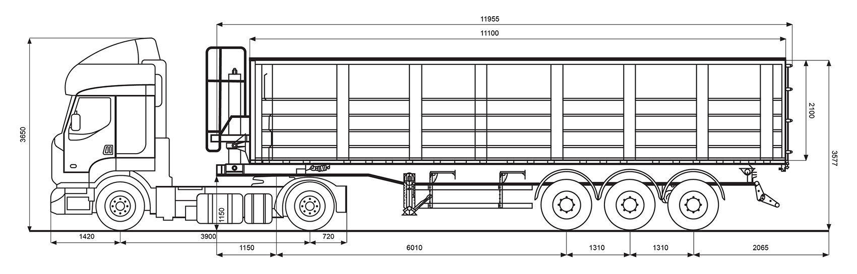 Параметри зерновозу Renault об'ємом 55 м.куб