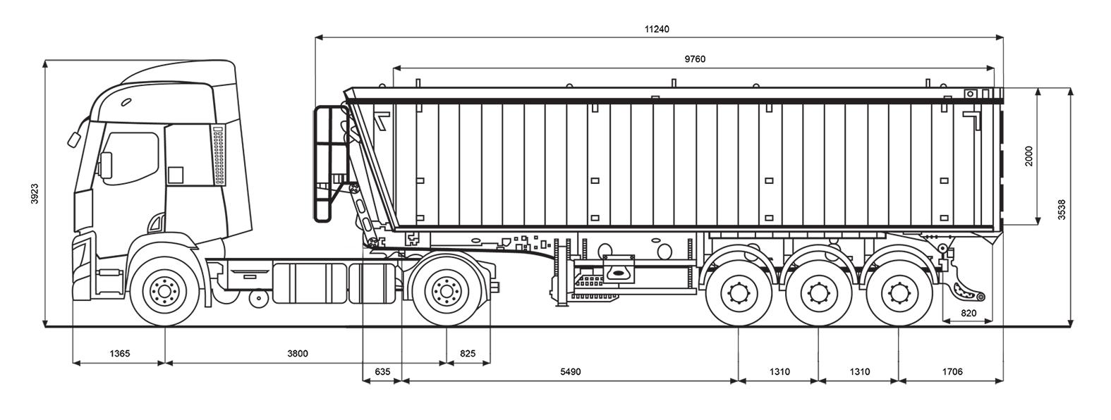 Параметри зерновозу Renault об'ємом 50 м.куб
